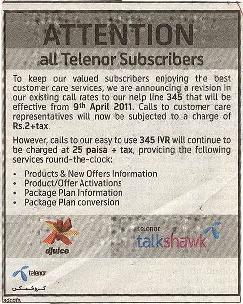 Telenor Call charges to customer center Telenor Revised Helpline Charges to Rs 2+tax
